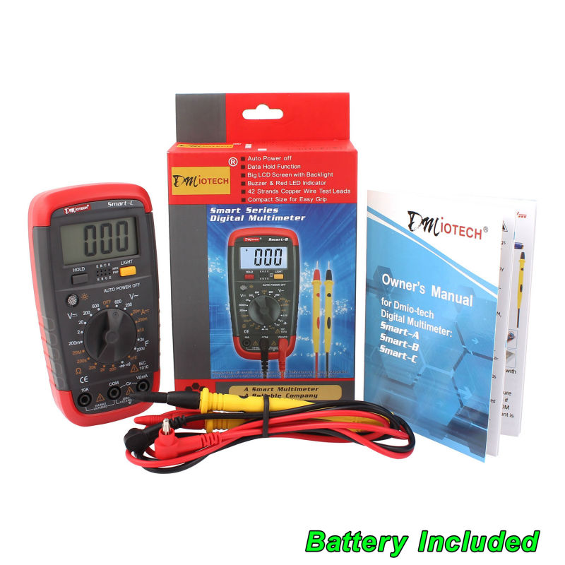 Mini DMM Digital LCD Multimeter AC DC Ammeter Voltmeter Ohm Capacitance Resistance Continuity Electrical Tester Diode Detector