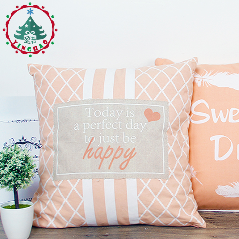 inhoo 2Pcs 45x45cm Pink Plaid Pillow Cover Pillow Cases home decoration Pillowcase Gifts Textile Cotton and linen Printed pillow