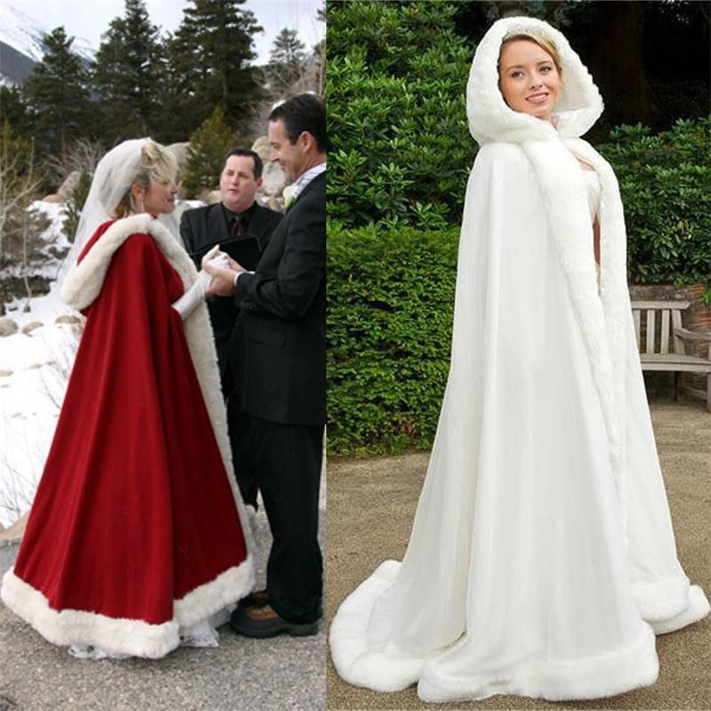 2015 White Wedding Cloak Cape Hooded With Fur Trim Long