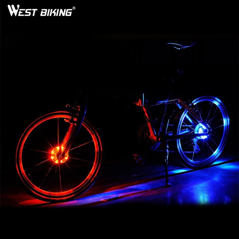 WEST BIKING Bicycle Wheel Rim Light Bike Front/Rear Decoration Warning LED Wheel Signal Lamp Waterpoof Cycling Bike Hubs Light