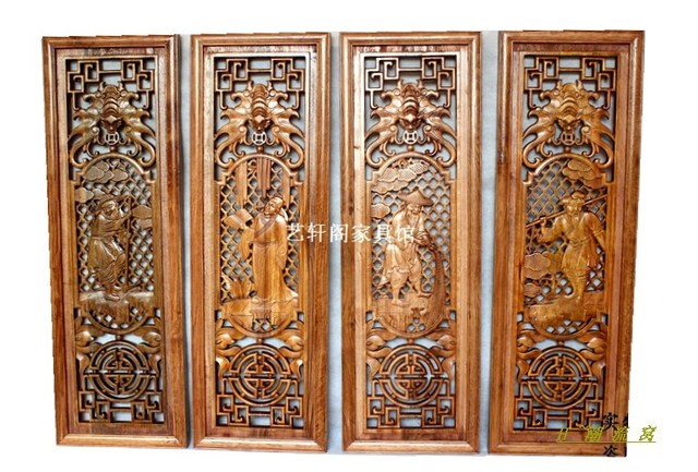 Dongyang Woodcarving Gentleman Farmer Chinese Antique Doors And Windows Parion Wall Hanging Screen Porch Camphorwood