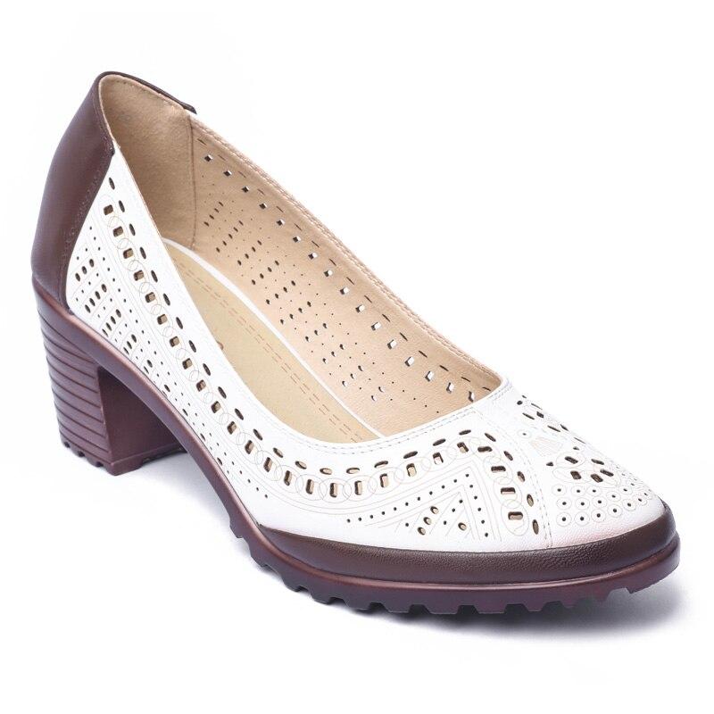 Brown white Retro Cuero Suave Hueco Estilo Verano Tamaño Pink Blue Sandalias Zapatos De Plus Mujer Tacón Las Alto Mujeres White Cpi Bombas 89 Dulce Yj white WnTq4wAT