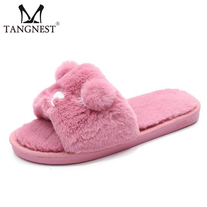 Tangnest Sweet Coral Velvet Women's Slippers NEW Cartoon Fur Floor Slippers Female Soft Plush Indoor Shoes Size 36~41 XWT855 soft house coral plush slippers shoes white