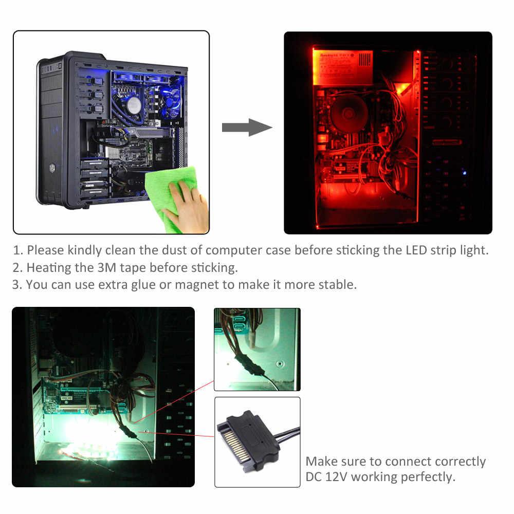 Tira de luz LED 12V RGB SMD 5050 RF interfaz remota inalámbrica SATA 1M 2M tira de LED cinta para PC iluminación de la caja de la computadora