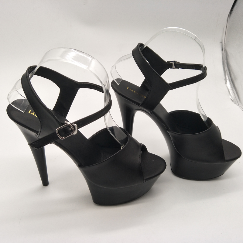 LAIJIANJINXIA 15cm Thin Sole Shoes Black Red Pink Strappy 6 Inch Sexy High  Heels Pumps Clear Crystal Shoes Women Summer Sandals-in High Heels from  Shoes on ...