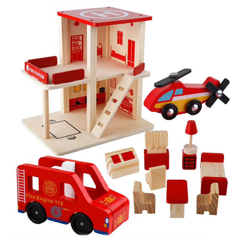 Wooden Toys Baby Toy For Kids Children Role Play Educational Diy Police Station Fire Station Post Office Birtherday Gift
