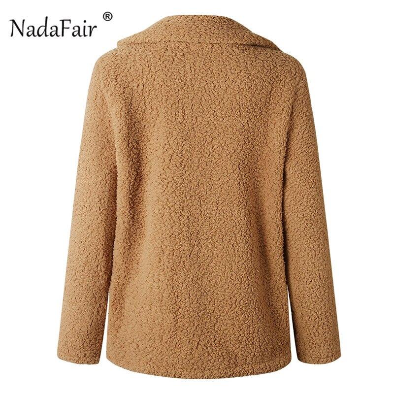 Nadafair plus size fleece faux fur jacket coat women winter pockets thicken teddy coat female plush overcoat casual outerwear 20
