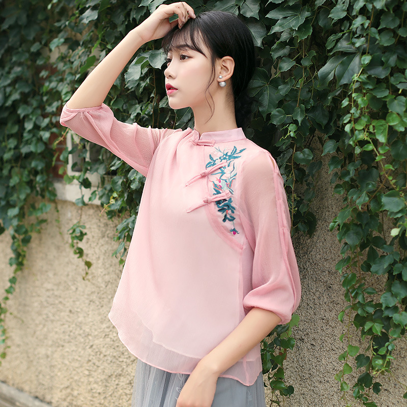 Cheongsam Top 2018 Summer Traditional Chinese Shirt Loose Lace Tops For Women Chiffon Girls Embroidered Top Ethnic Clothing