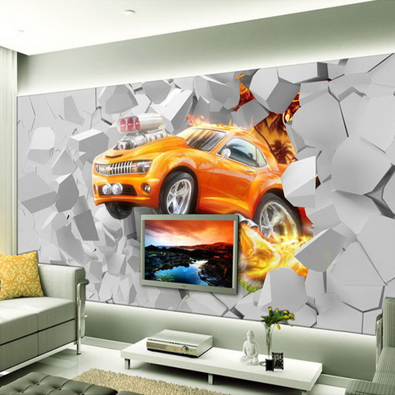 Custom 3D Mural Wallpaper Flame Car Living Room Background Wall Decoration Painting Non-woven Wallpaper For Kids Room Bedroom 0 53x10m modern blue gray green simple non woven wallpaper living room bedroom wedding room shop decoration wallpaper