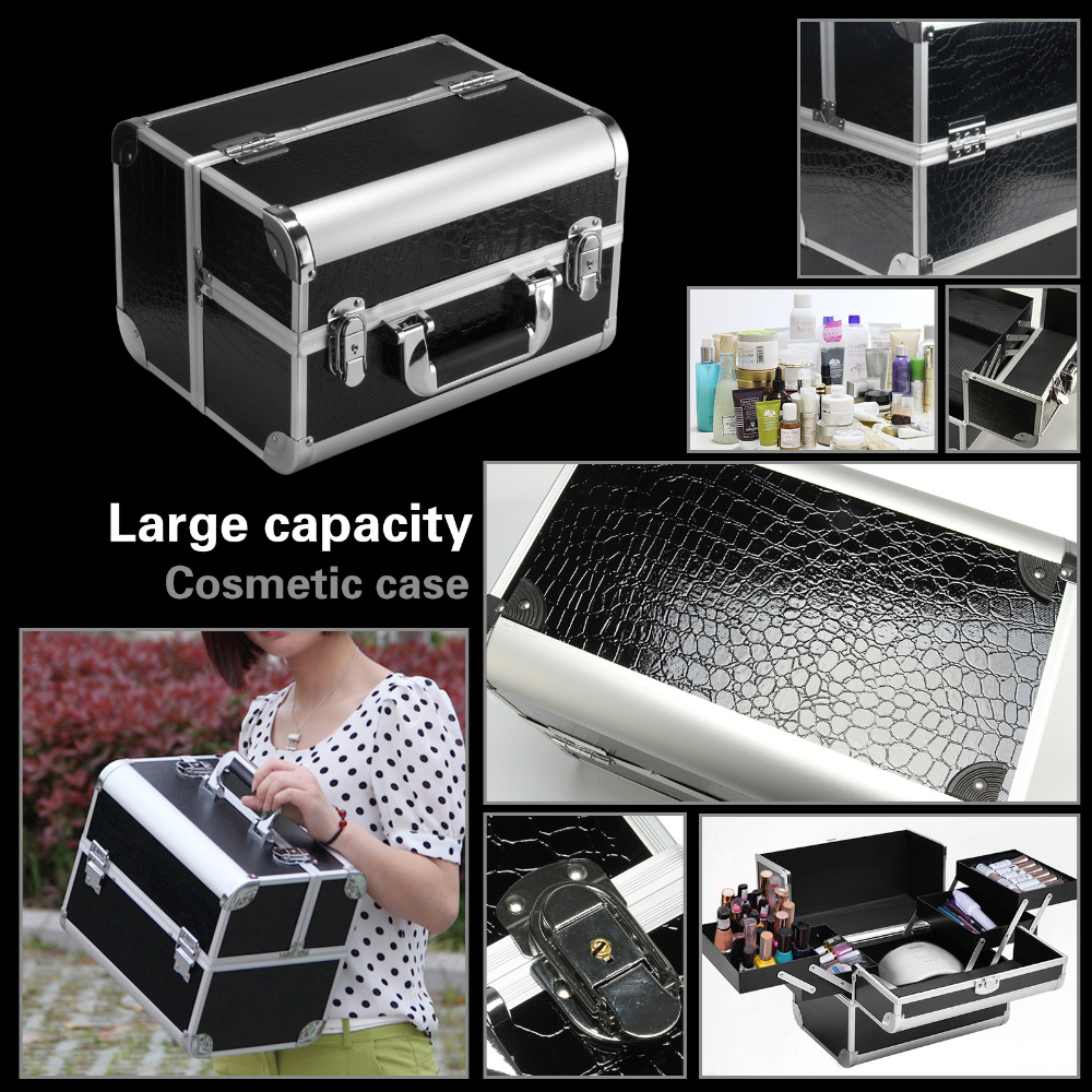 Black Aluminum Makeup Train Jewelry Storage Box Cosmetic Lockable Case Organizer pu leather makeup cases traval train jewelry storage box cosmetic lockable handle cosmetic makeup case empty makeup palette