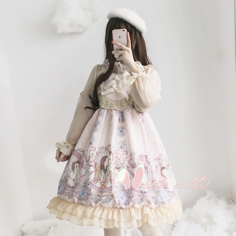 Vintage Angel Concerto Cupid 2019 Summer Dresses Cute Elegant Women Lolita Girl JSK Dress Lace Suspender Japanese Party Dress