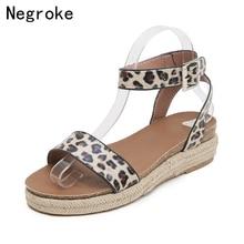 лучшая цена 2019 Summer Wedge Espadrilles Women Sandals Sexy Leopard Platform Gladiator Sandals Open Toe Flat Heel Sandles Sandalia Feminina