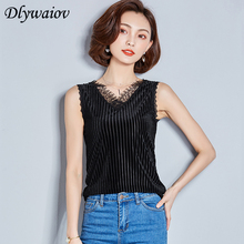 Tank Tops Women 2019 Fashion Sexy Lace V-neck Club Vest Sleeveless Velvet Korean Elegant Ladies Female Black T-shirt