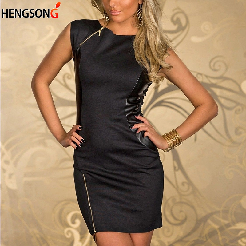 Women Party Dress Faux Leather Splice OL Black Pencil Dress O Neck Sleeveless Zipper Elegant Slim Bodycon Dress Summer 2019