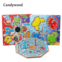 Large Magnetic Maze Toy Kids Wooden Puzzle Game Toy Kids Early Educational Brain Teaser Children Toy Intellectual Jigsaw Board