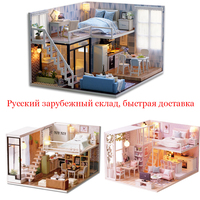 Миниатюрный Кукольный домик «сделай сам», модель кукольного дома, мебель со светодиодной подсветкой, 3D Деревянный мини кукольный домик, руч...