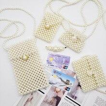 Luxury Mini Hand-woven Pearl Bags Handmade Beaded Crossbody Handbags Women Famous Brands Evening Clutches Purse NEW 2019