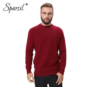 Sparsil Men Winter Pure Cashmere Knitted Sweater Plaid Pattern Solid Color Long Sleeves Pullovers Autumn Male Soft Warm Sweaters