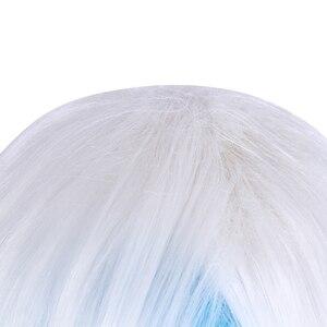 Image 4 - L e mail perücke Spiel LOL SSG Xayah Cosplay Perücken Weiß Mix Blau Lange mit Ohren Halloween Cosplay Perücke Wärme beständig Synthetische Haar