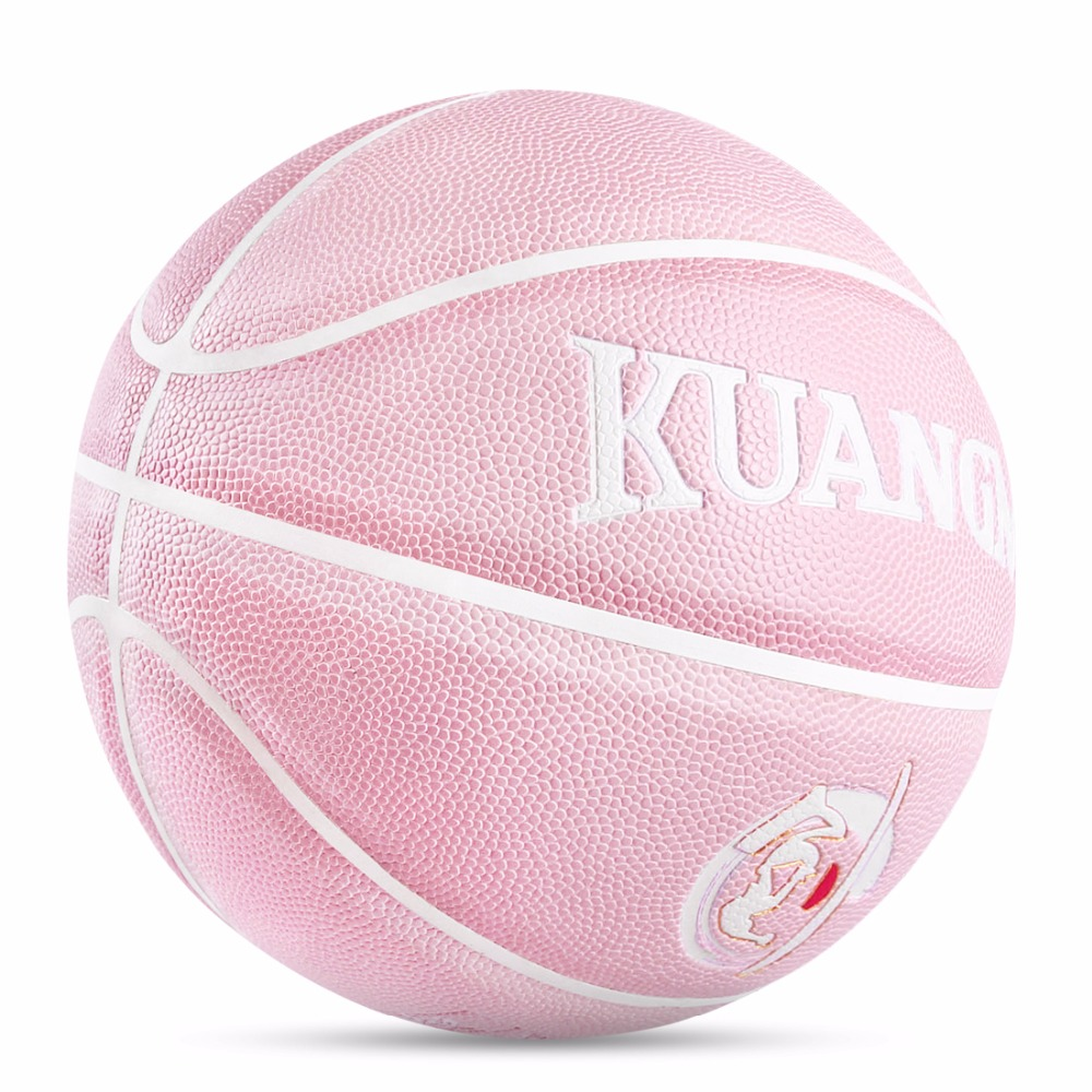 Kuangmi Pink Indoor Outdoor Basketball Ball for Women Girls Basketball Training PU Leather Non-slip Wear-resistant Game Balls цена