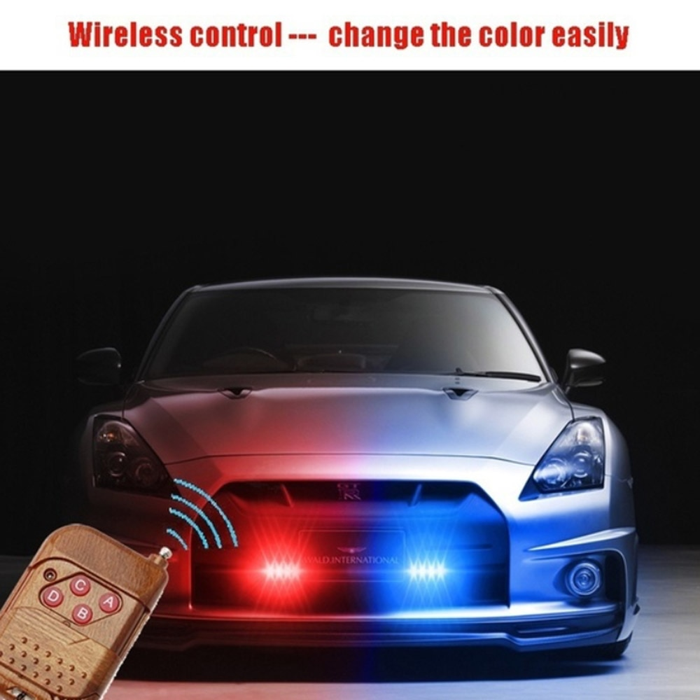 Car Light Assembly One For Four 12/16LED Police Flashing Lights Wireless Remote Control Car LED Network Warning Lights