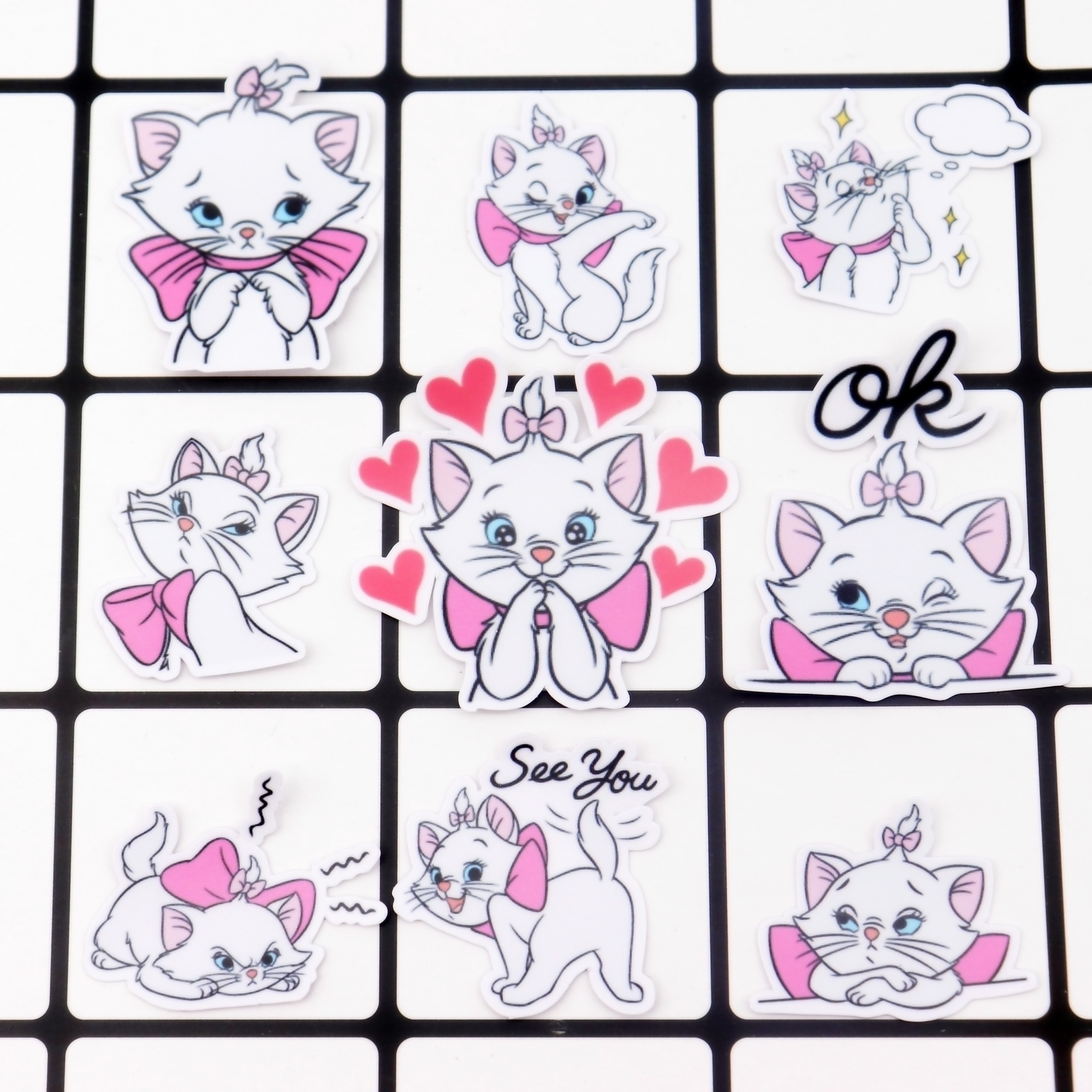 40pcs Creative Kawaii Self-made Mary Cat Stickers/scrapbooking Stickers /decorative /DIY Photo Albums Waterproof/Notebook Diary