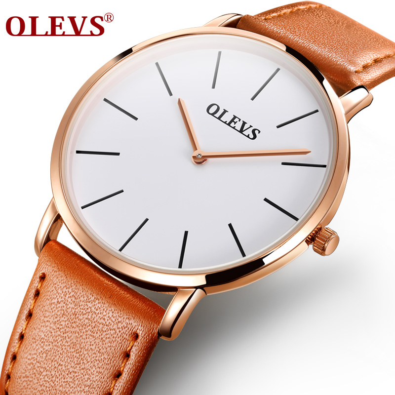 OLEVS Simple Ultra Thin Quartz Men Watch Male Clock Ladies Watch Rose Gold Color Case Brown Leather Strap Waterproof Wristwatch brown strap thin case branded design watches no name japan quartz machine