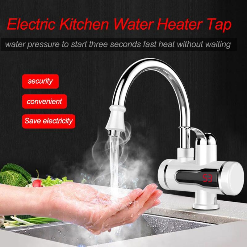 220V Digital Display Electric Water Heater Tap Kitchen Instant Hot Water Faucet Heater Cold Heating Faucet Tankless Instantaneou