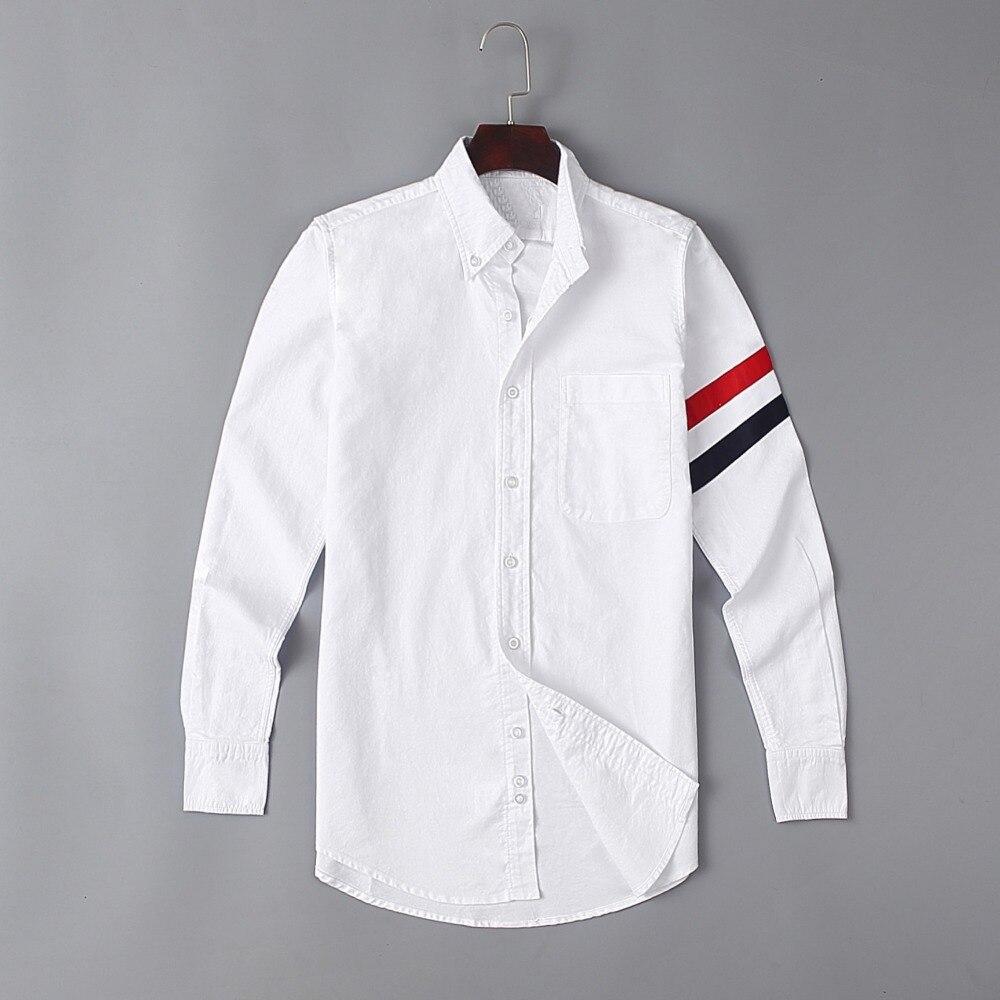 New 19ss Men Oxford Classic Stripe Fashion Cotton Casual Shirts Shirt High Quality Pocket Long-sleeves Top M 2XL #G71