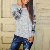 New Spring Fall Women Casual Long Sleeve shirt Top Crew Neck Pullover Clothes Female