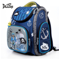 Delune Cartoon School Bags For Girls Boys Backpack Pirate Children Orthopedic Schoolbag Waterproof Backpacks Mochila Escolar