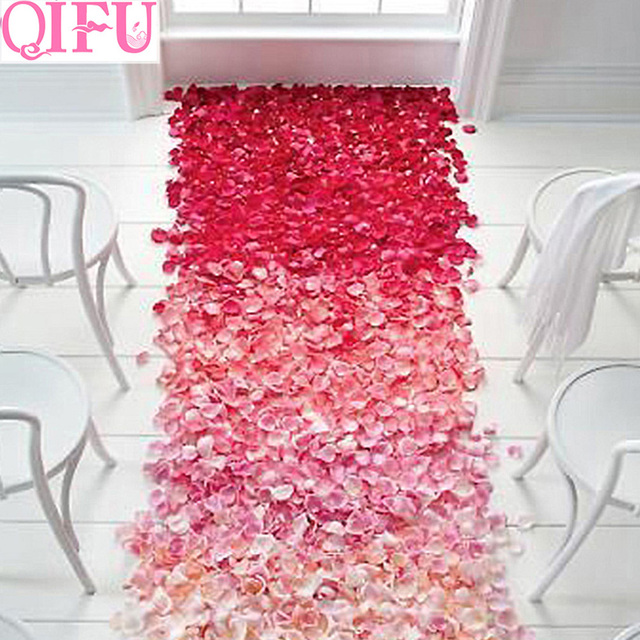 Qifu 500 Soie Ruby Rose Petale Decoration Couverture De Table