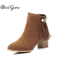 BISI GORO Ankle Boots Heels Women Autumn Shoes Fall Boots High Heel Black Brown Fringe Boots