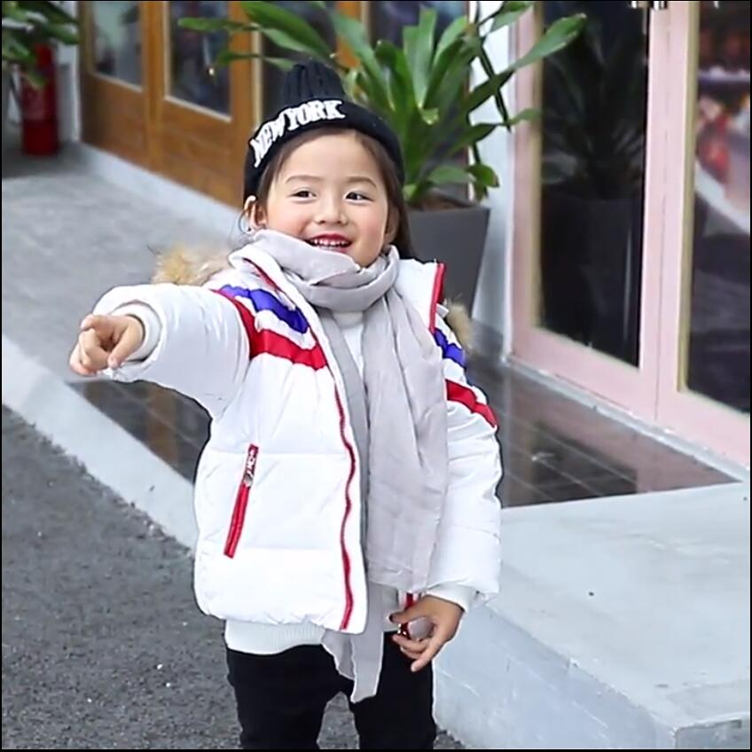 Kids Girls Boys Winter Coats Jackets Outerwear Warm Faux Fur Collar Toddler Detachable Hooded Down Jacket