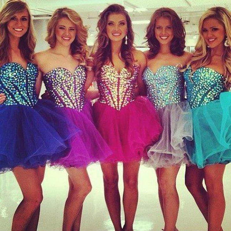 Crystal Homecoming Dresses 2016 Corset Short Cute 8th Grade Prom ...