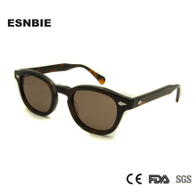 ESNBIE Hohe Qualität Retro Niet Sonnenbrille Männliche Runde Shades Männer 44mm Kleine Dekorative Gläser Frauen Sonnenbrille UV400