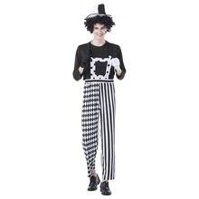 66016a57b Engraçado Traje Do Palhaço Para Adultos Mulheres Homens Preto Branco  Fantasias de Palhaço de Circo Festa Halloween Fancy Dress F..