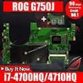 ส่ง + 2D เมนบอร์ดแล็ปท็อปสำหรับ ASUS G750JM G750JW G750JX G750J G750 ทดสอบต้นฉบับเมนบอร์ด i7-4710HQ I7-4700HQ