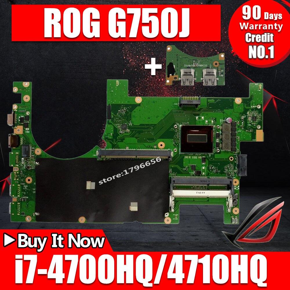 Enviar bordo + 2D Laptop motherboard para ASUS G750JM G750JW G750JH G750JX G750J G750 Teste mainboard original i7-4710HQ I7-4700HQ