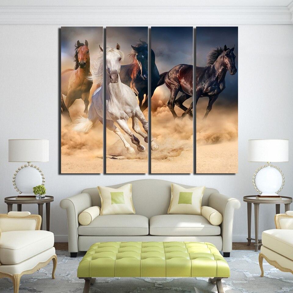 4 Teile/satz Gerahmte HD Gedruckt Pferde Laufen Wandkunst Leinwand ...