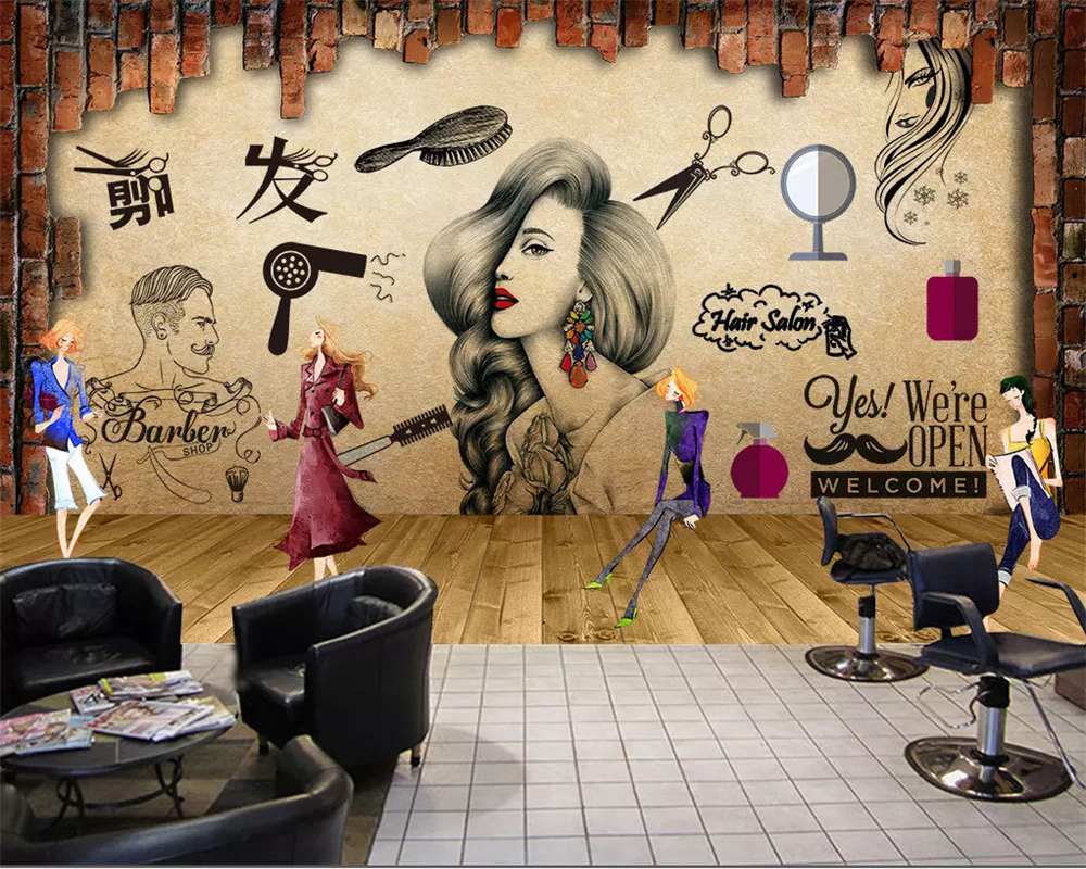 Beibehang Customized 3d Wallpaper Salon Hair Salon Beauty Salon Background Wall Barber Shop Nostalgic Retro Makeup 3d Wallpaper Wallpapers Aliexpress