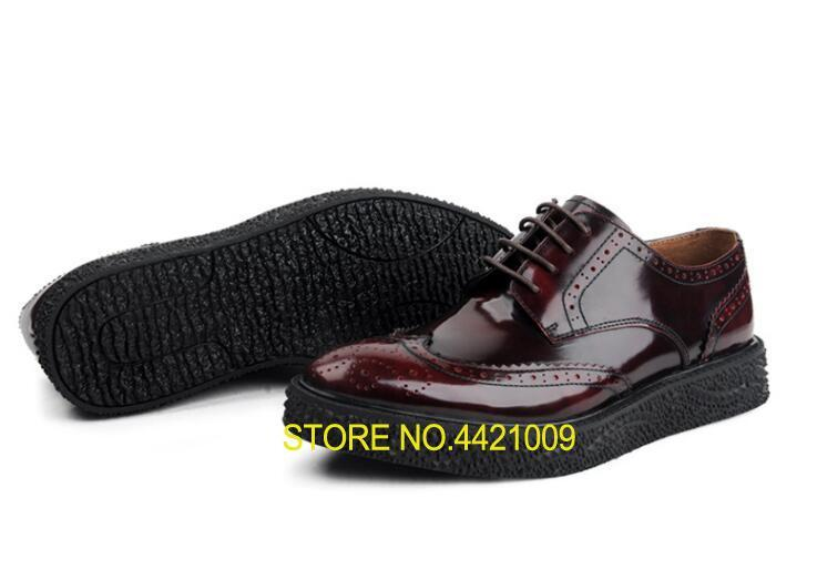 Genuine Patent Leather Mens Brogue Runway Lace-Up Platform Height Increasing Men Carved Sole Gradient Smart Casual Dress ShoesGenuine Patent Leather Mens Brogue Runway Lace-Up Platform Height Increasing Men Carved Sole Gradient Smart Casual Dress Shoes