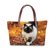Handbag for Women 2019 New Fashion Bags Shoulder Bag Beach Animal Kitten Cat Print Pattern Design Tote Bolso
