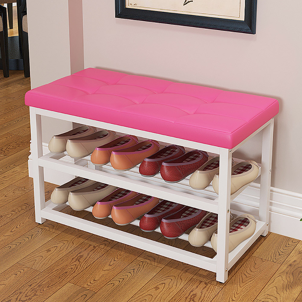 Modern Double Layer Shoes Storage Rack Stool with Padded Seat Living Room Shoebox Cabinet Shoes Organizer Stand Shelf