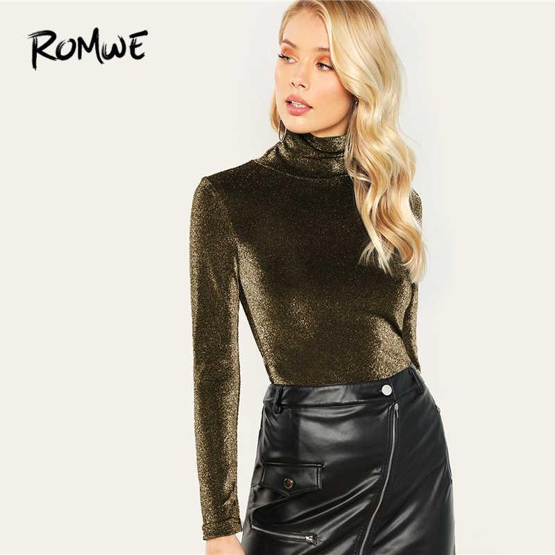 41fc99e61e240 ROMWE High Neck Glitter Tee 2019 Fashion Cool Gold Womens Clothing T Shirt  Casual Slim Fit