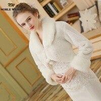Heißer Verkauf Elegante Warme Fur Ivory Bolero Hochzeit Wrap Schal Braut Jacke Mantel Zubehör hochzeit 2017 cape-mantel