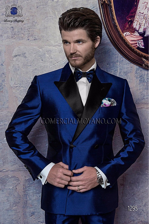 2017 Latest Coat Pant Designs Italian Royal Blue Satin Men Suit Terno Slim Fit 3 Piece Groom Tuxedo Custom Prom Blazer Masculino