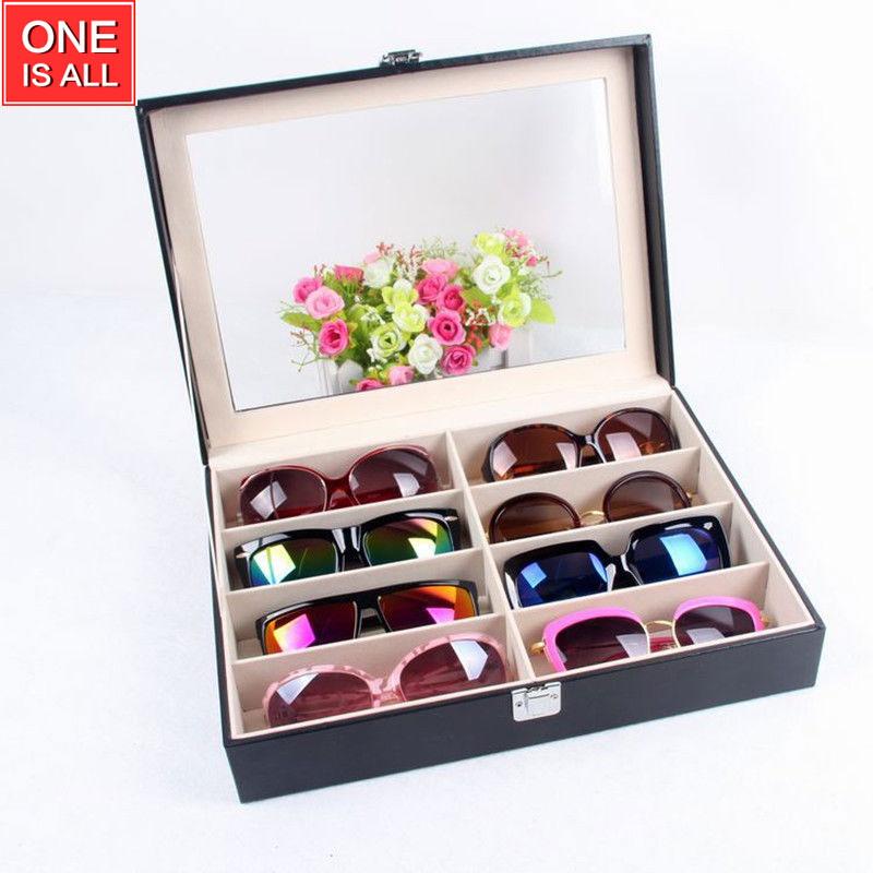 8 mřížky úložné boxy černé kožené PU brýle brýlí brýle brýle displej mřížka případ box organizátor s oknem černá