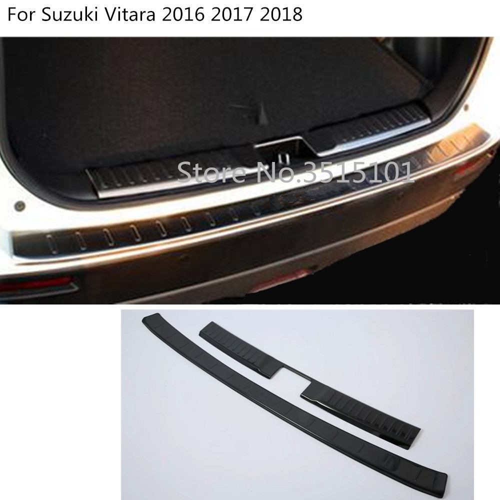 Car external inner outside rear back bumper trunk inside trim cover Stainless Steel plate pedal For Suzuki Vitara 2016 2017 2018 for hyundai tucson 2015 2016 2017 2018 car inner inside rear back bumper trim stainless steel scuff sill trunk plate pedal 1pcs