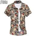 MOGU Camisa Casual 2017 de Los Hombres de Manga Corta Camisa de Estampado de Flores hombres Vestidos de Verano de Gran Tamaño de Los Hombres 7XL hombres de la Moda camisa
